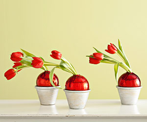 Red tulips in a pot