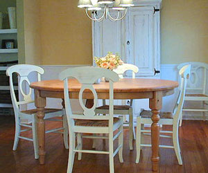 dining room with white armoire