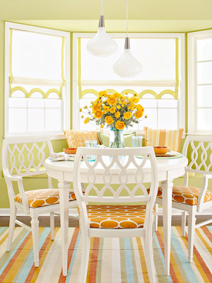 bright orange and green dining set