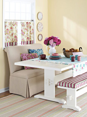 banquette with soft colors