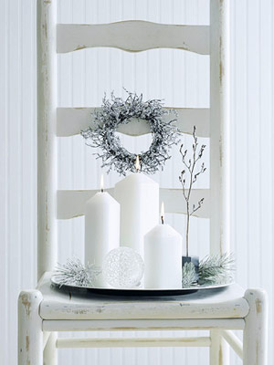 White candle display on chair