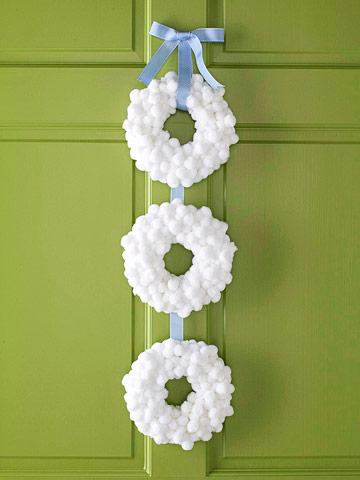 three white wreaths