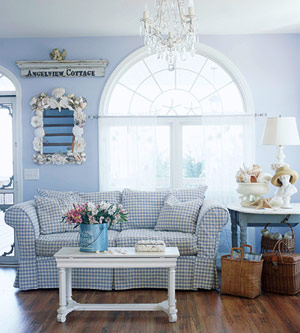 blue room with gingham sofa