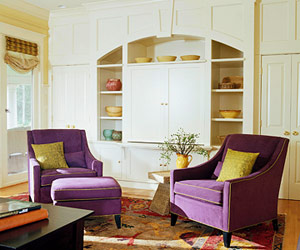 white basement, 2 purple chairs, ROI