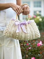 Ribbon-Weaved Crochet Handbag