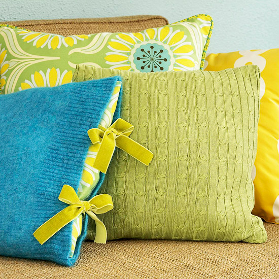 Sweaters as throw pillow covers