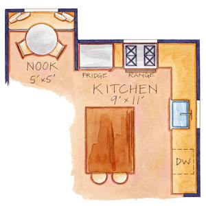 white cottage small kitchen floor plan