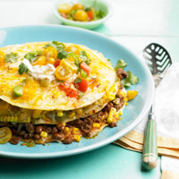 Stacked Sweet Corn, Bean, and Beef Casserole