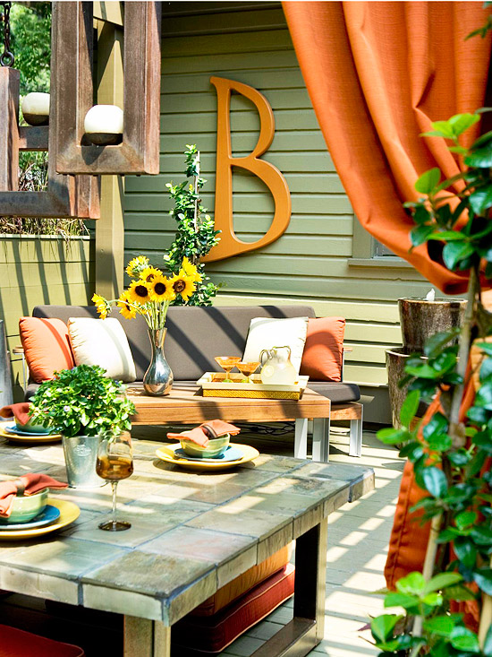 From Better Homes and Gardens, a colorful patio
