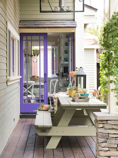 Purple Home Decor Patio Door Double Doors Backyard Back Porch Door Frame Violet Picnic Bench Lantern Window