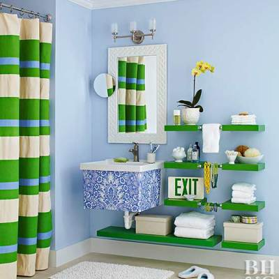 Patterned Utility Sink and Shelves