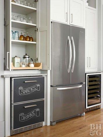 Chalkboard Paint Kitchen with Chalkboard Refrigerated Cabinets Chalkboard Paint Shelving Hardwood Floors Wine Fridge