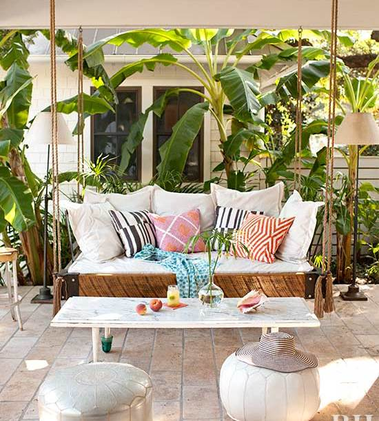 Porch Swing Cozy Throw Pillows Colorful Tropical Beach Backyard Bright White Table Backyard Floor Cushions Exterior Home Decor Design