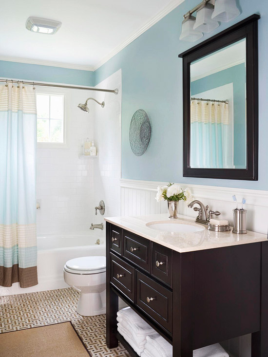 blue and dark brown bathroom