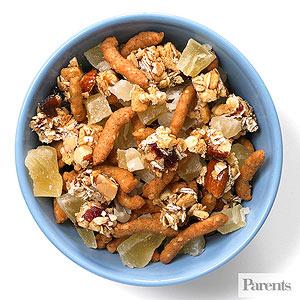 Sesame sticks, chopped cereal-nut bars, dried pineapple