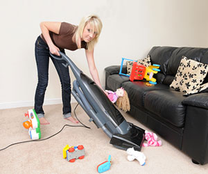 teenager vacuuming