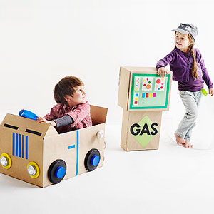 Cardboard car and gas pump
