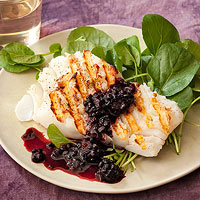 Grilled Cod with Blackberry Sauce
