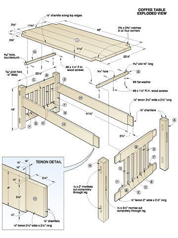 wooden coffee table plans free