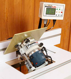 Electric router lift makes precise adjustments