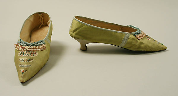 Slippers, silk, probably British