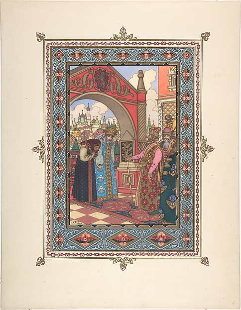 "Illustration for ""La Belle Vassilissa"" [Vassilissa and Grandmother before the Tsar]"