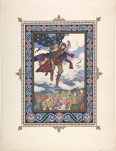 "Illustration for ""Maria Morevna"" [Koshchey the Deathless carries off Maria Morevna]"