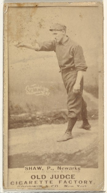 """Frederick Lander """"Dupee"""" Shaw, Pitcher, Newark Little Giants, from the Old Judge series (N172) for Old Judge Cigarettes"""