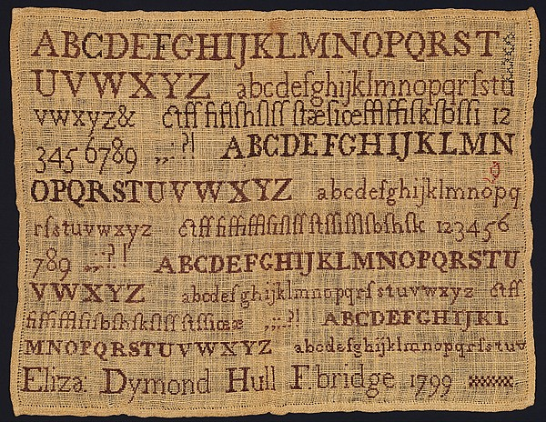 Sampler made at a Quaker school