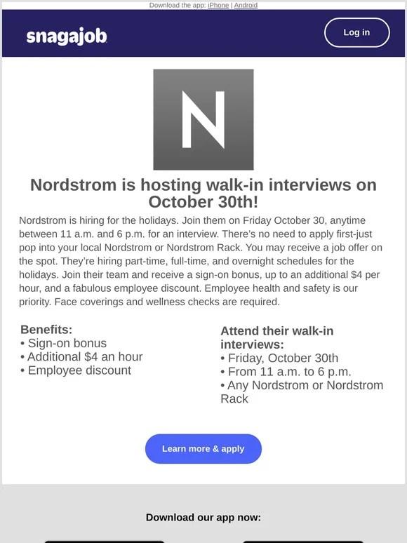 snagajob job fair alert nordstrom on