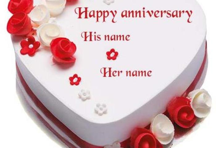 Mix Heart Shape Red And White Rose Happy Anniversary Cake