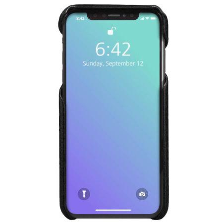 coque iphone xs max vaja grip en cuir veritable haut de gamme noir