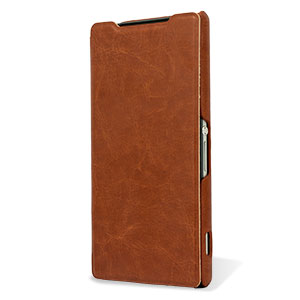 Pudini Book Flip and Stand Sony Xperia Z2 Case - Brown