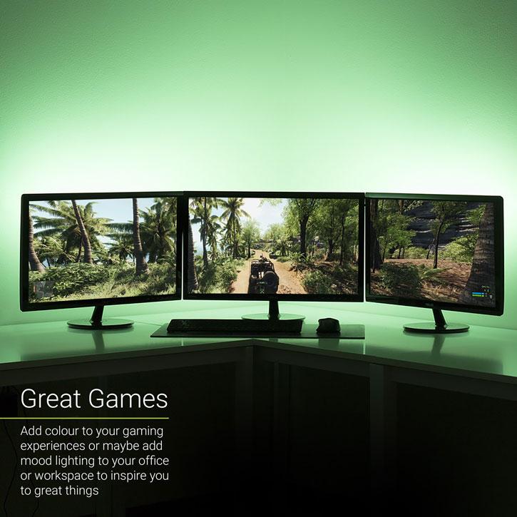 100cm led streifen usb tv hintergrundbeleuchtung beleuchtung kit agl colour changing twin pack