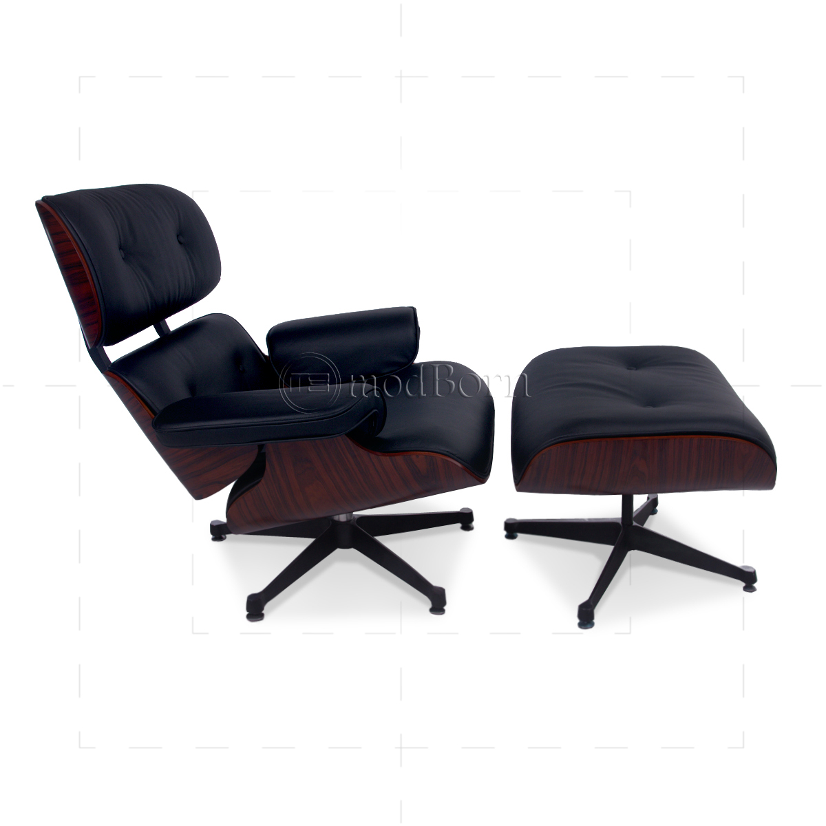 Eames Style Lounge Chair And Ottoman Black Leather