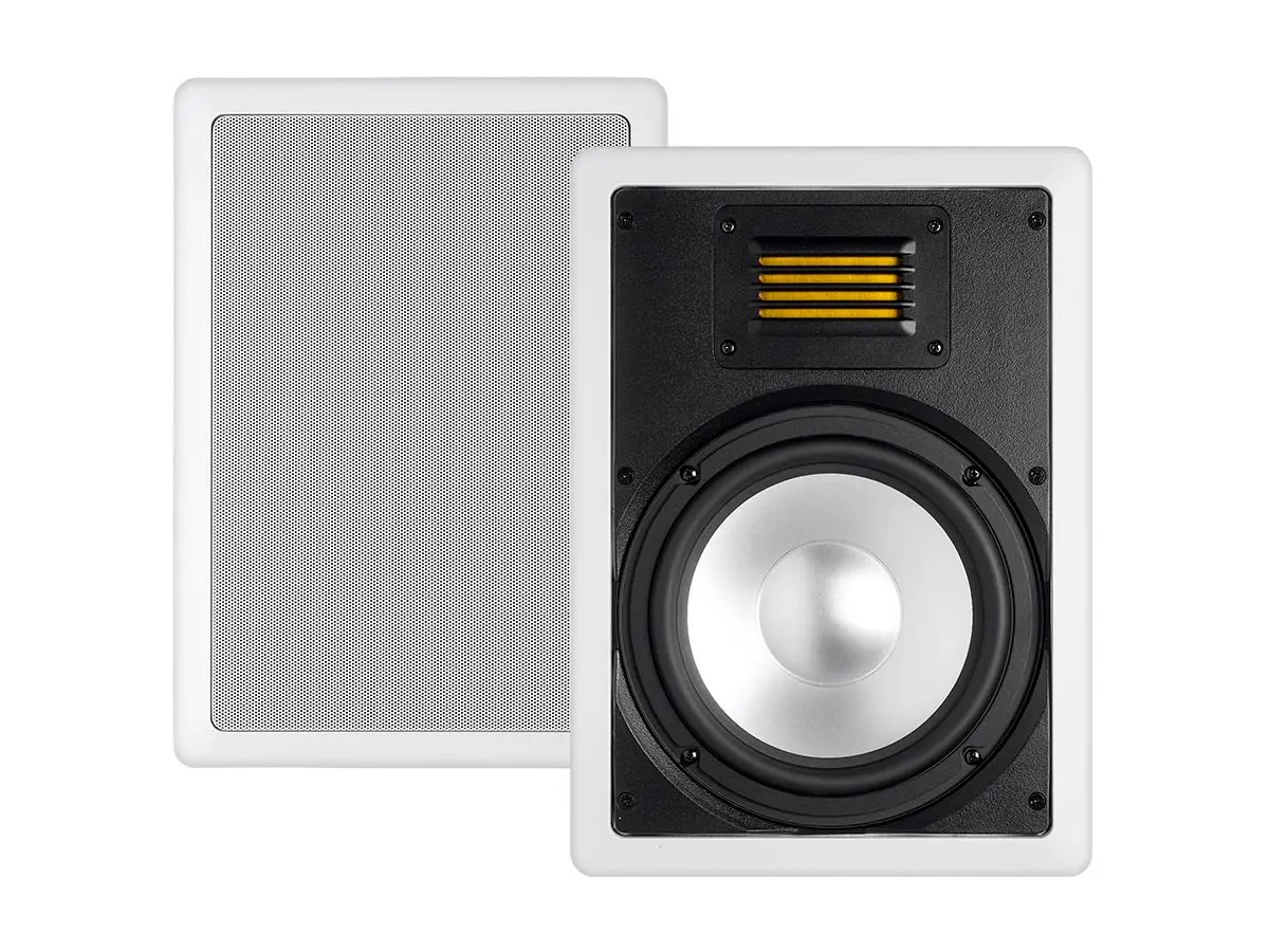 monoprice amber in-wall speaker 8in 2-way with ribbon tweeter