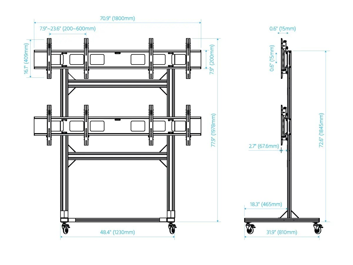 Monoprice 2x2 Video Wall System Bracket With Micro
