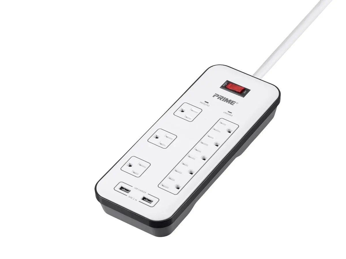 8 Outlet Surge Protector Power Strip With 2 Usb Charging Ports 2 1a Right Angle Plug With 6ft