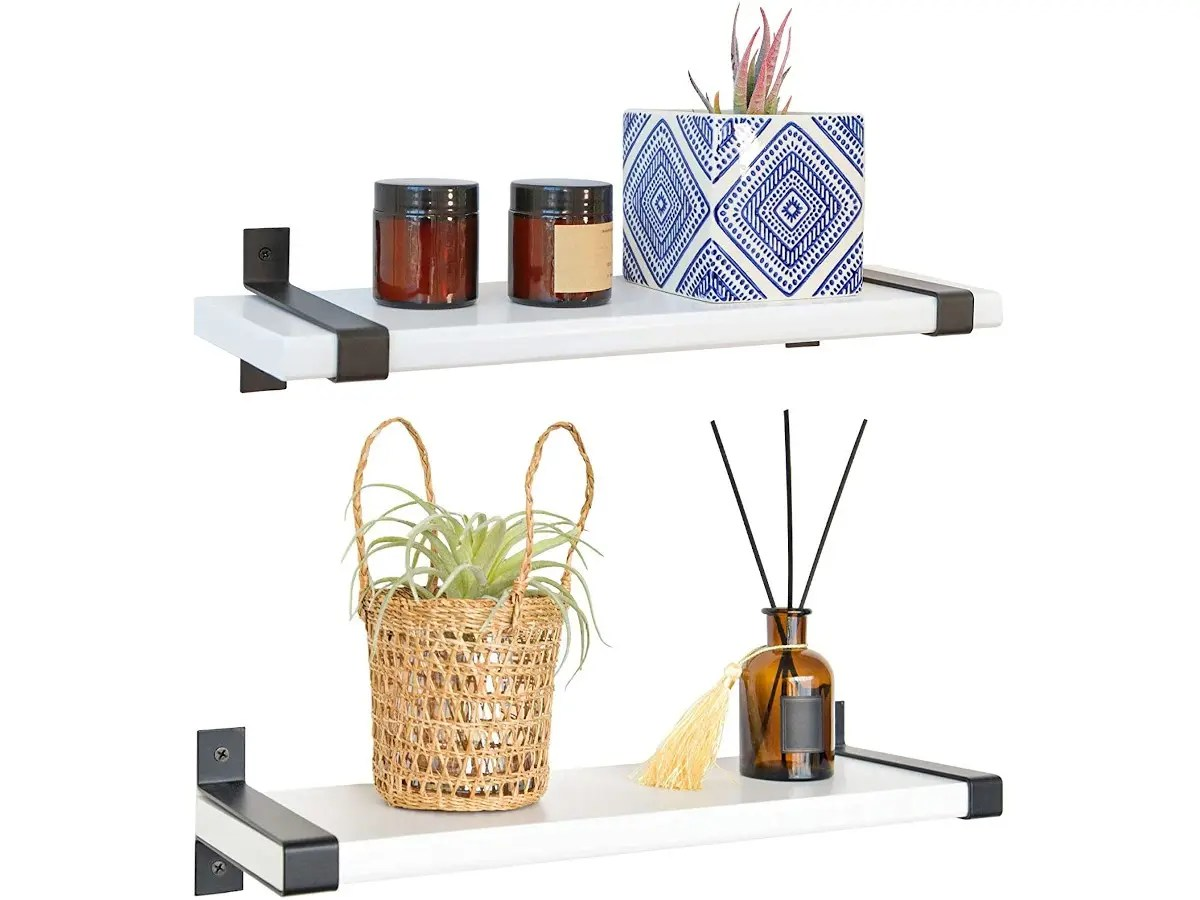 labcosi white floating shelves wall mounted for living room kitchen bathroom office etc solid wood display ledges wall rack shelf