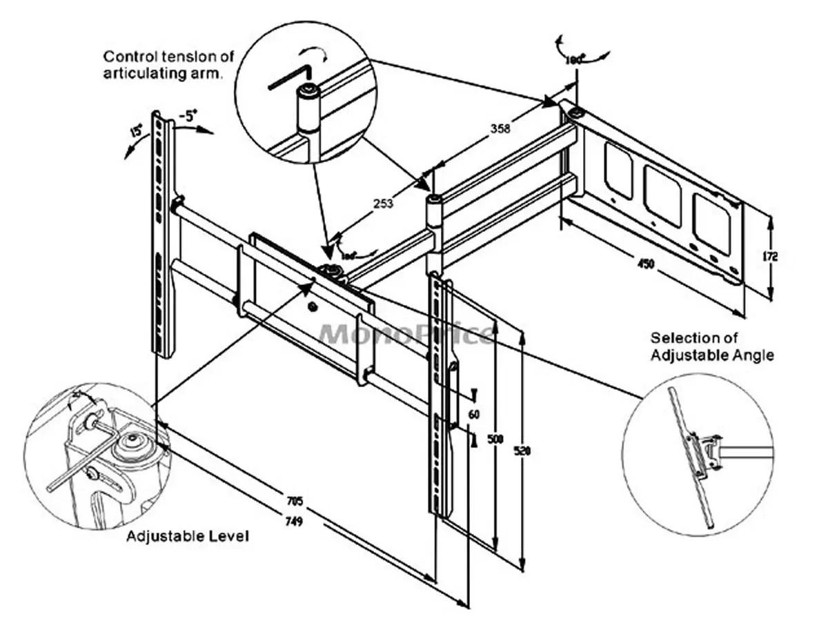 Monoprice Corner Friendly Full Motion Articulating Tv Wall