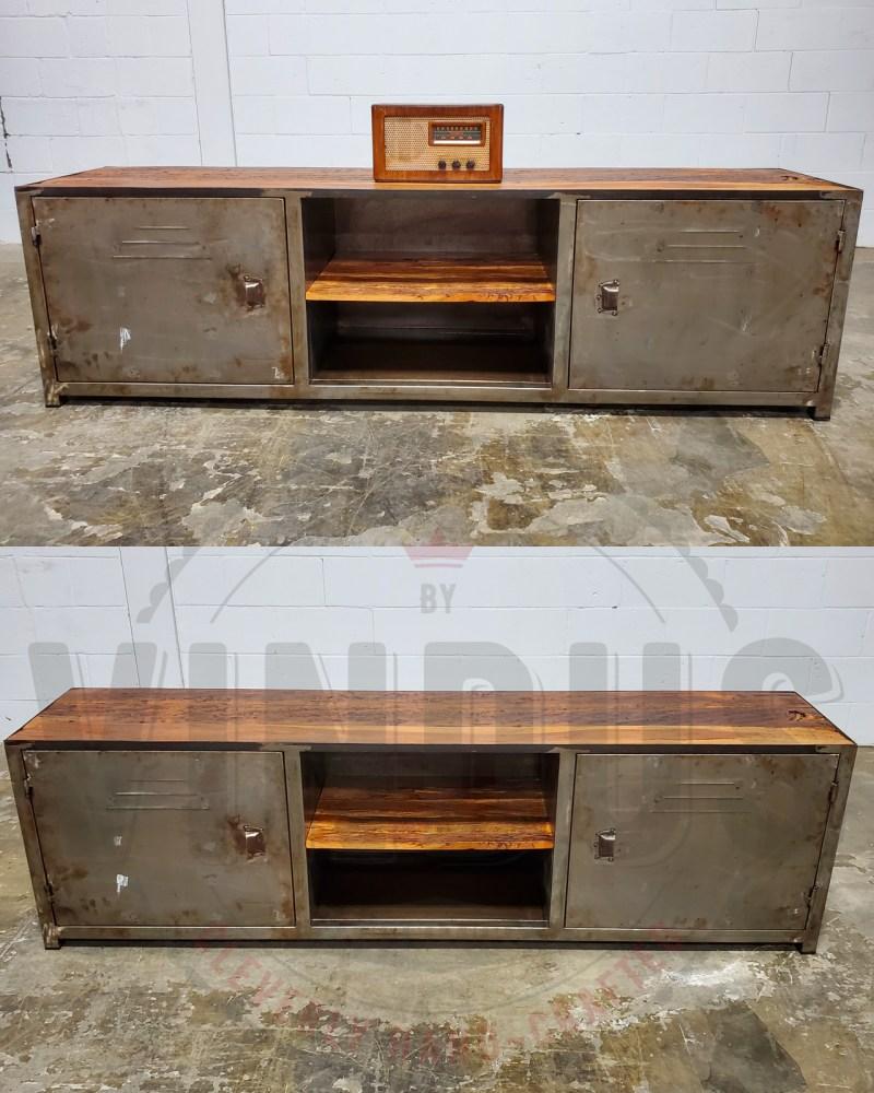 meuble tele industriel bois antique et acier