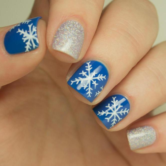 Apply Blue And Silver Nail Polishes Snowy Night Art