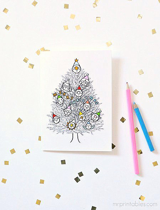 Christmas Cards To Color In Mr Printables