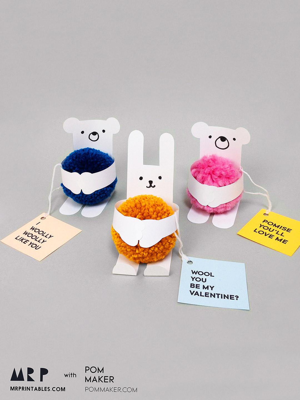 Animal Valentine S Day Cards With Pom Poms