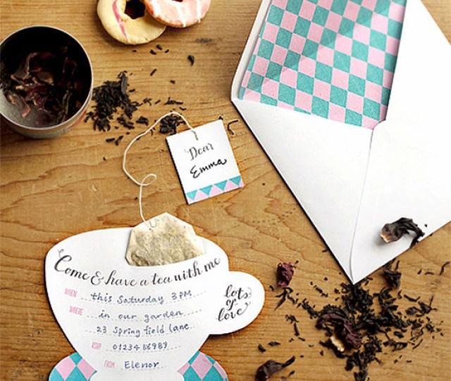 Argyle Tea Party Invitations With Tea Bags