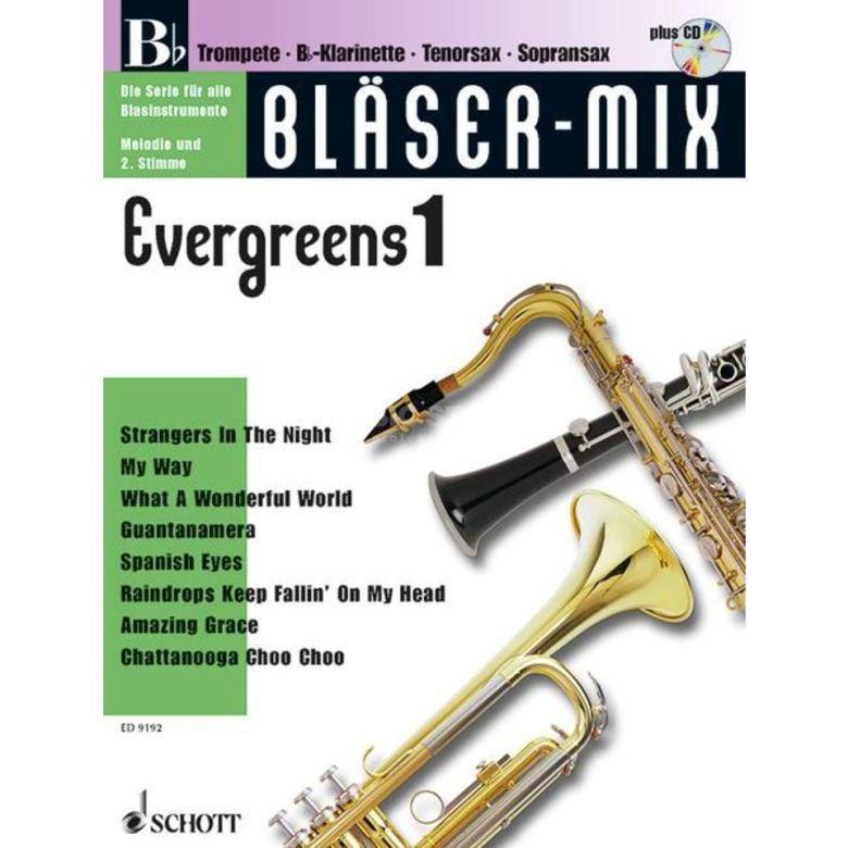 schott music evergreens, bläser-mix play-along bb-instrumente