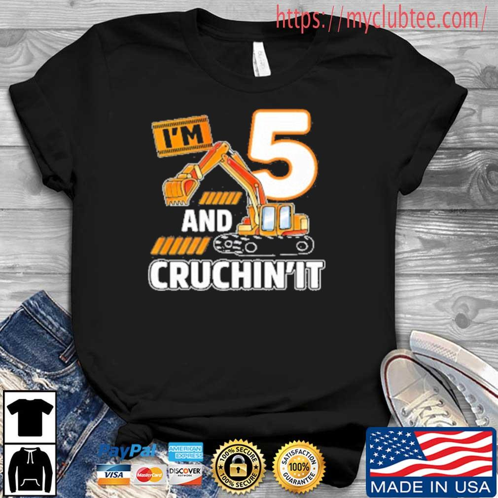 5th Birthday Vehicles Construction Excavator 5 Year Old Birthday Boy Shirt Hoodie Sweater Long Sleeve And Tank Top