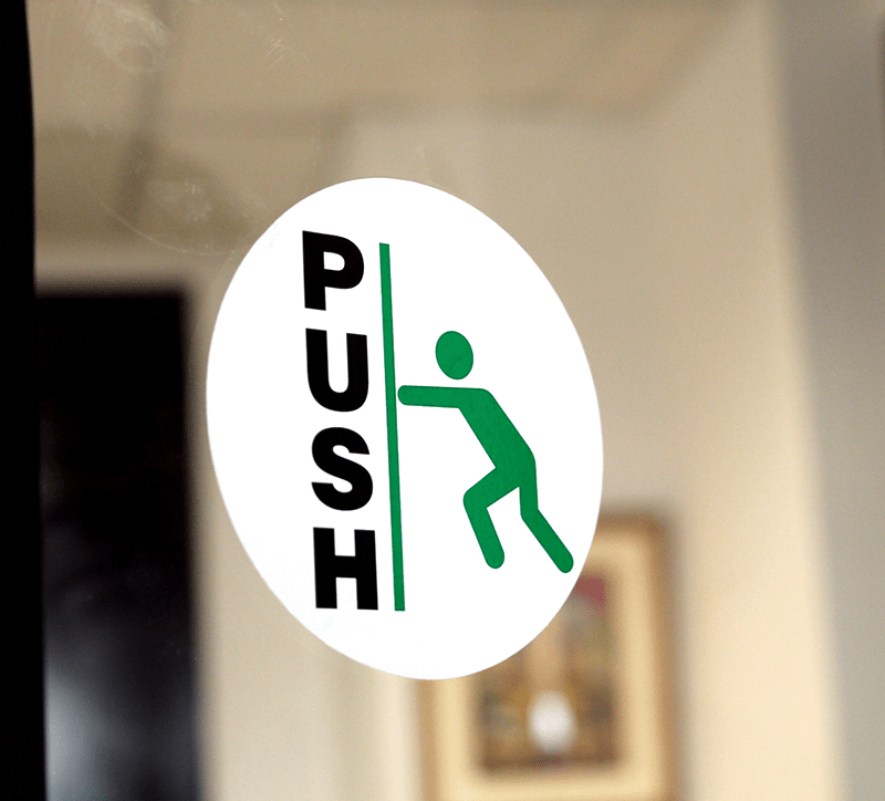 2 Sided Pull Push Glass Decal Sku