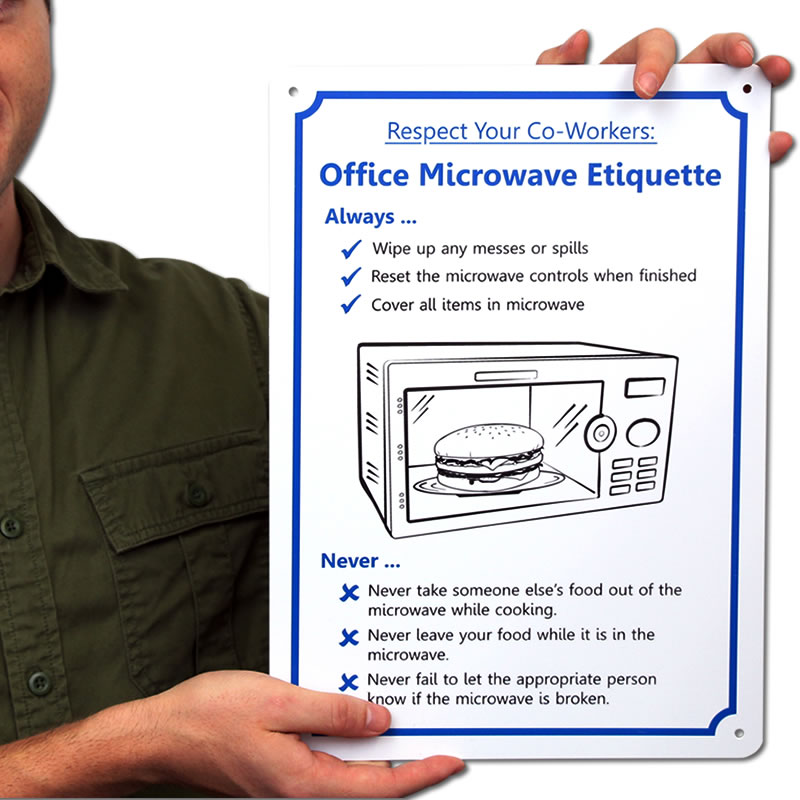 Kitchen Courtesy Signs: Posters For Office Microwave Etiquette