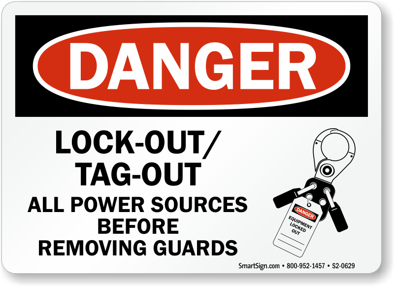Lockout Tagout All Power Sources Before Removing Guards